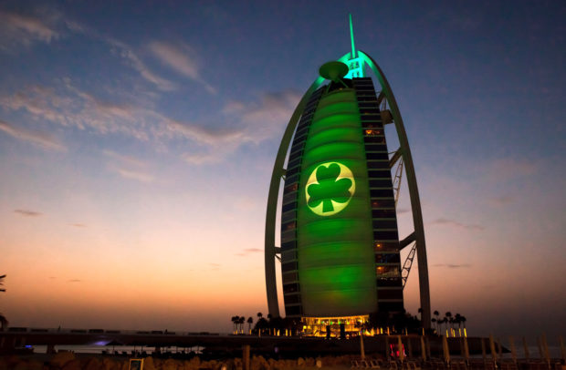 REPRO FREE PIC SHOWS: The iconic Burj al Arab hotel in Dubai, illuminated in green as part of Tourism Ireland's Global Greening 2014, to celebrate the island of Ireland and St Patrick. Pic – Tarek Jajeh طارق جاجة (no repro fee) Further press info – Sinéad Grace, Tourism Ireland 087 685 9027