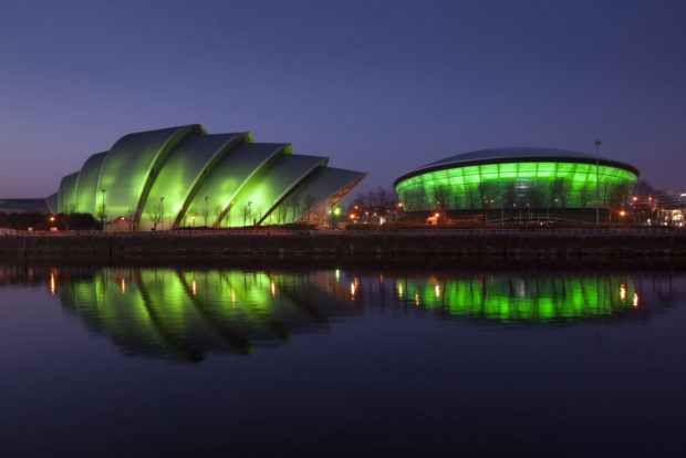 REPRO FREE PIC SHOWS: The Clyde Auditorium, affectionately known as the 'Armadillo', and the SSE Hydro arena, in Glasgow, illuminated in green as part of Tourism Ireland's Global Greening 2014, to celebrate the island of Ireland and St Patrick. Pic – Chris James (no repro fee) Further press info – Sinéad Grace, Tourism Ireland 087 685 9027