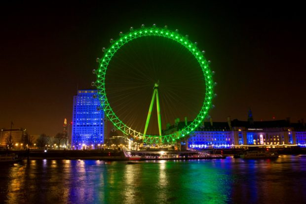 REPRO FREE 16/03/2016, London – Tourism Ireland's annual Global Greening initiative, to celebrate the island of Ireland and St Patrick, has gone from strength to strength – from its beginning in 2010, with just the Sydney Opera House going green, to this year, when about 190 landmark buildings and iconic sites across the world will turn a shade of green for our national day. PIC SHOWS: The London Eye joins Tourism Ireland's Global Greening initiative, to celebrate the island of Ireland and St Patrick. Pic – Gretel Ensignia/PA Wire (no repro fee) Further press info – Sinéad Grace, Tourism Ireland 087 685 9027