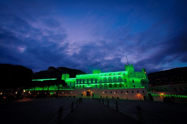 REPRO FREE 17/03/2016, Monaco – Tourism Ireland's annual Global Greening initiative, to celebrate the island of Ireland and St Patrick, has gone from strength to strength – from its beginning in 2010, with just the Sydney Opera House going green, to this year, when more than 180 landmark buildings and iconic sites across the world will turn a shade of green for our national day. PIC SHOWS: The Prince's Palace in Monaco joins Tourism Ireland's Global Greening initiative, to celebrate the island of Ireland and St Patrick. Pic – Frederic Nebinger (no repro fee) Further press info – Sinéad Grace, Tourism Ireland 087 685 9027