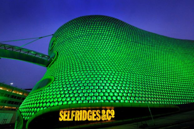 REPRO FREE 16/03/2017, Birmingham – Tourism Ireland's annual Global Greening initiative, to celebrate the island of Ireland and St Patrick, has gone from strength to strength – from its beginning in 2010, with just the Sydney Opera House going green, to this year, when about 180 landmark buildings and iconic sites across the world will turn a shade of green for our national day. PIC SHOWS: Selfridges in Birmingham joins Tourism Ireland's Global Greening initiative, to celebrate the island of Ireland and St Patrick. Pic – Adam Fradgley/Exposure (no repro fee) Further press info – Sinéad Grace, Tourism Ireland 087 685 9027