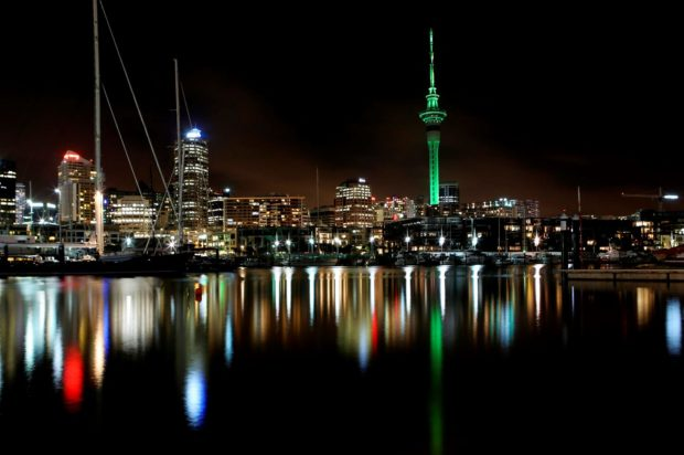 REPRO FREE 17/03/2016, Auckland, New Zealand – Tourism Ireland's annual Global Greening initiative, to celebrate the island of Ireland and St Patrick, has gone from strength to strength – from its beginning in 2010, with just the Sydney Opera House going green, to this year, when about 180 landmark buildings and iconic sites across the world will turn a shade of green for our national day. PIC SHOWS: The Sky Tower in Auckland, New Zealand, joins Tourism Ireland's Global Greening, to celebrate the island of Ireland and St Patrick. Pic – Frances Oliver (no repro fee) Further press info – Sinéad Grace, Tourism Ireland 087 685 9027