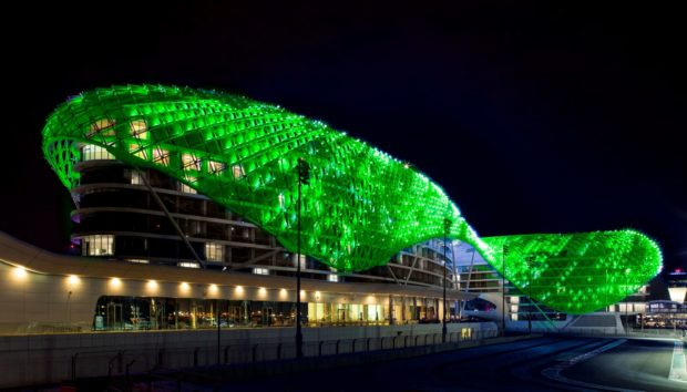 REPRO FREE 16/03/2016, Abu Dhabi – Tourism Ireland's annual Global Greening initiative, to celebrate the island of Ireland and St Patrick, has gone from strength to strength – from its beginning in 2010, with just the Sydney Opera House going green, to this year, when about 180 landmark buildings and iconic sites across the world will turn a shade of green for our national day. PIC SHOWS: The Yas Viceroy hotel on Yas Island, Abu Dhabi, joins Tourism Ireland's Global Greening initiative, to celebrate the island of Ireland and St Patrick. Pic – Tourism Ireland (no repro fee) Further press info – Sinéad Grace, Tourism Ireland 087 685 9027