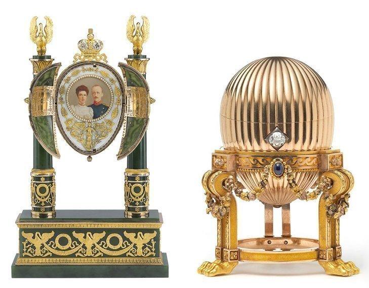 1.Dwa odnalezione ostatnio jaja Fabergé: Cesarskie jajko nefrytowe z 1902 r. & Jajko trzecie cesarskie z 1887 r.